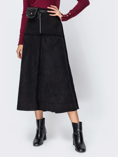 Замшевая юбка-миди чёрного цвета с контрастными вставками 42143, фото 1