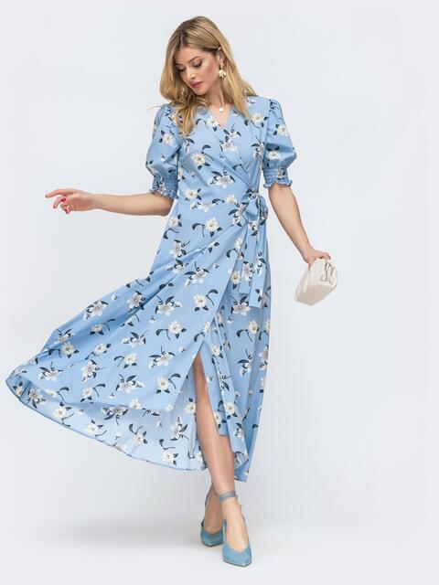"""Платье на запах с принтом и рукавом """"фонарик"""" голубое 46769, фото 1"""