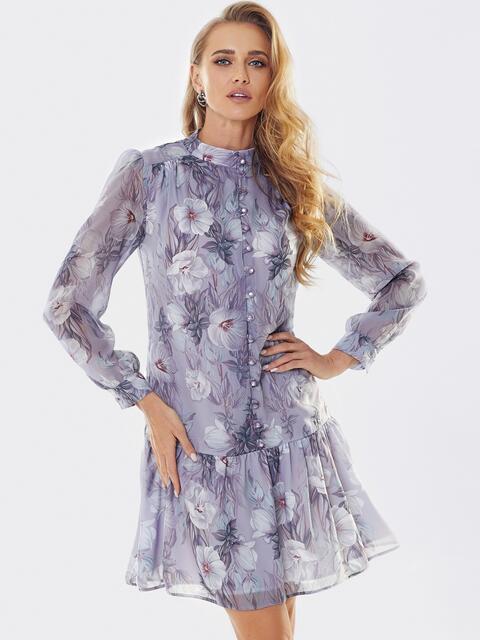 Платье с цветочным принтом и воланом по низу сиреневое 53659, фото 1