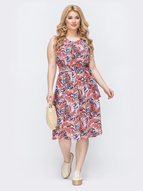 Приталенное платье батал с принтом и резинкой по талии оранжевое 46400, фото 1