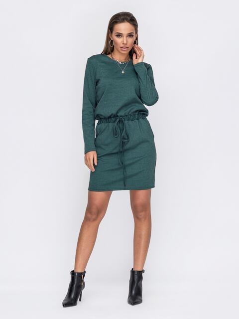 Зелёное платье с кулиской по талии 53133, фото 1
