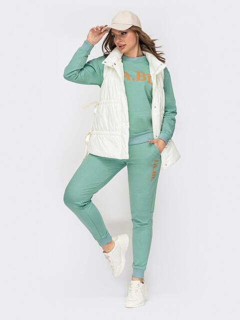 Зеленый костюм с брюками и кофтой с накаткой 52944, фото 1