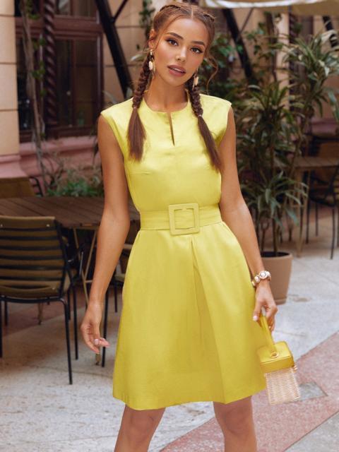 Желтое платье-трапеция со встречной складкой по полочке 54192, фото 1