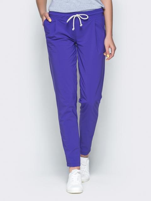 Фиолетовые брюки из бенгалина с эластичной деталью в поясе 32886, фото 1