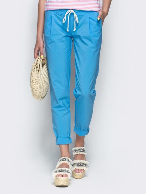 Голубые брюки из бенгалина с эластичной деталью в поясе 32884, фото 1