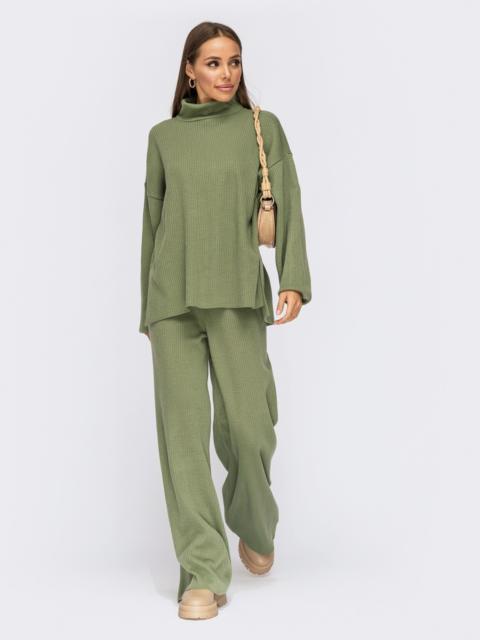 Вязаный костюм со свитером и брюками зеленый 55106, фото 2