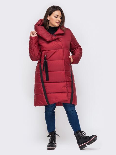 Зимняя куртка большого размера с капюшоном красная 51568, фото 1