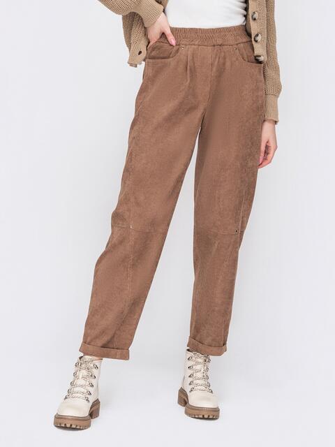 Вельветовые брюки коричневого цвета с высокой посадкой 52900, фото 1
