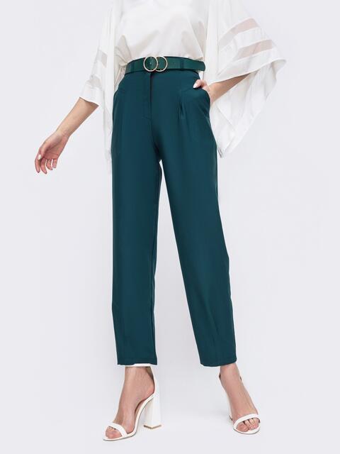Зеленые брюки с завышенной талией 45804, фото 1