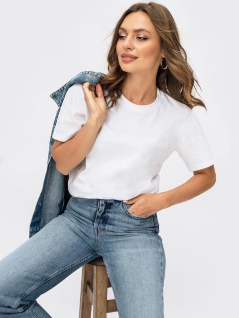 Базовая футболка прямого кроя белая 55043, фото 1