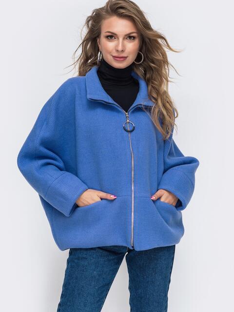 """Демисезонная куртка с рукавом """"летучая мышь"""" голубая 50621, фото 1"""