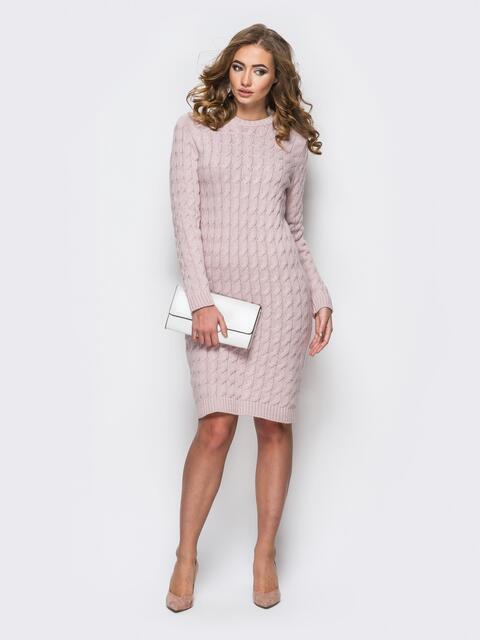 Платье ажурной вязки пудрового цвета 24847, фото 1