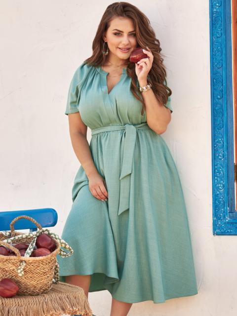 Платье батал с коротким рукавом и расклешенной юбкой бирюзовое 54453, фото 1