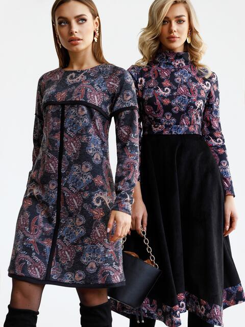 Платье-трапеция из полированной ангоры с принтом черное 52844, фото 1