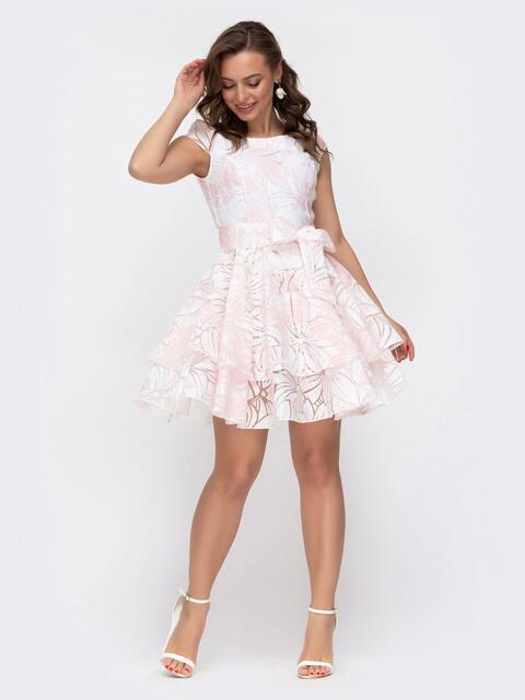Расклешенное платье с принтом и двуслойной юбкой розовое 47456, фото 1
