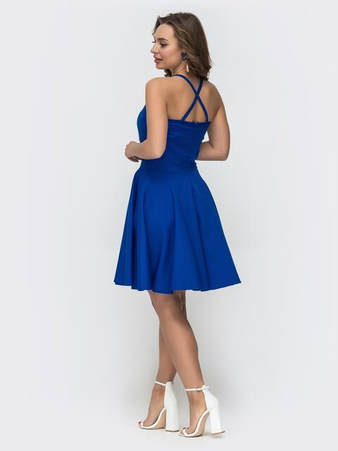 Сарафан с американской проймой и расклешенной юбкой синий 47473, фото 1