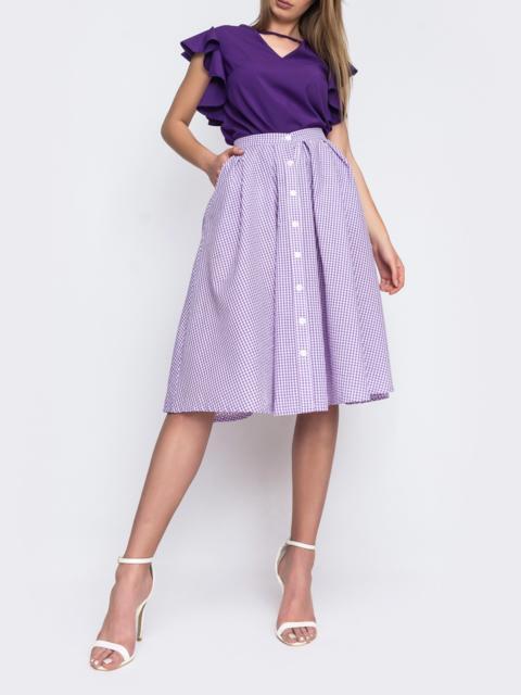 Фиолетовая юбка в клетку на пуговицах 48150, фото 1