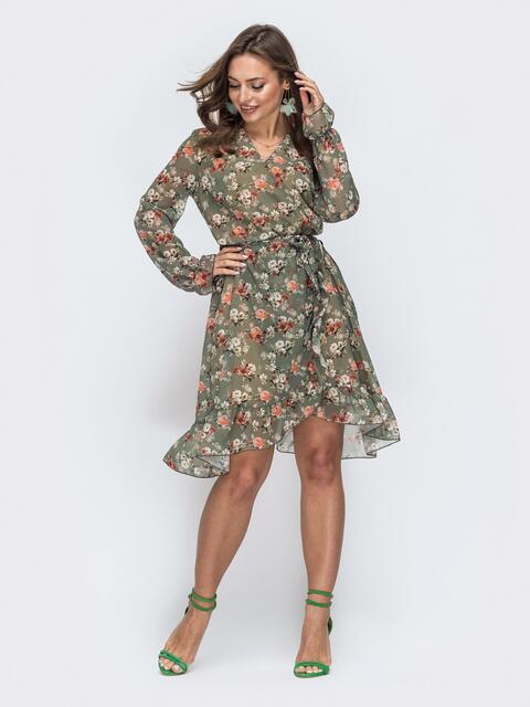 Шифоновое платье на запах с принтом цвета хаки 45834, фото 1