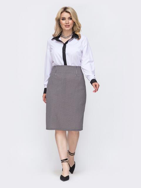 Белый комплект большого размера из блузки и юбки с принтом 50008, фото 1