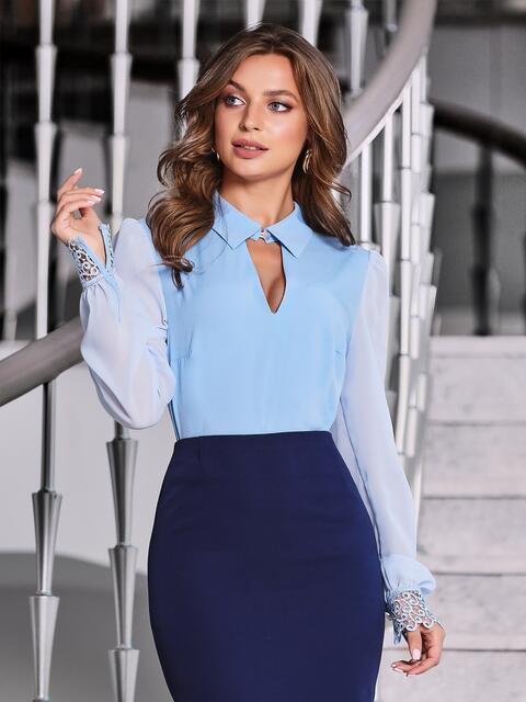 """Голубая блузка с вырезом """"замочная скважина"""" 40070, фото 1"""