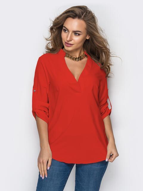 Красная блузка свободного кроя с открытой планкой 47733, фото 1
