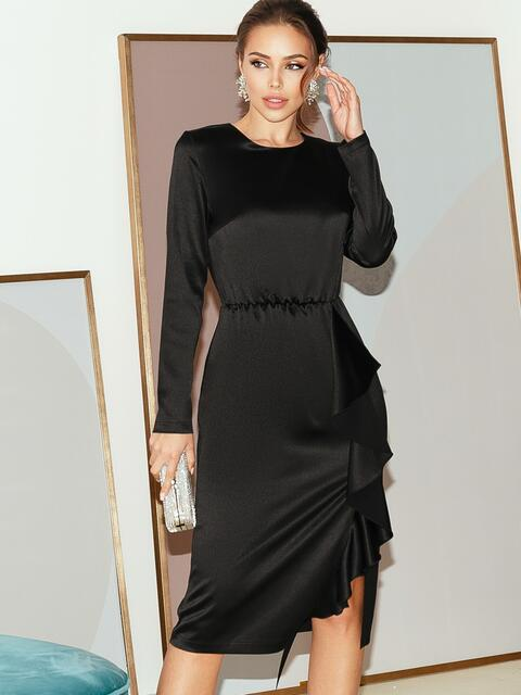 Приталенное платье из атласа с оборкой на юбке черное 51797, фото 1