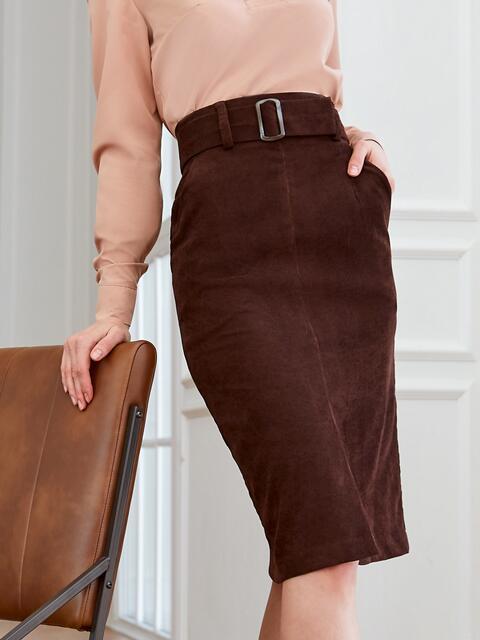 Вельветовая юбка прямого кроя с разрезом спереди коричневая 53501, фото 1