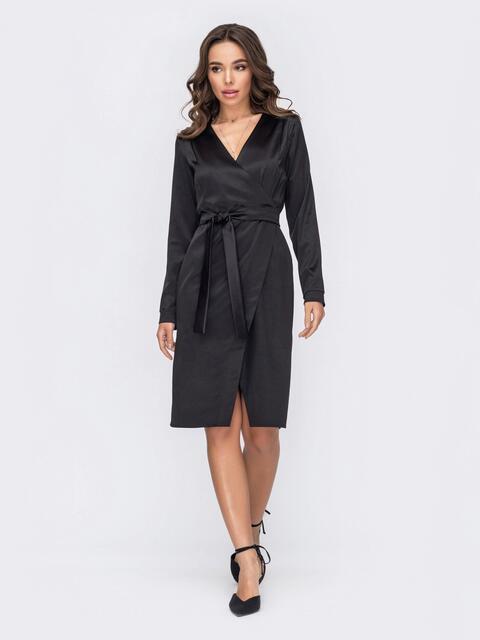Черное атласное платье на запах 53134, фото 1