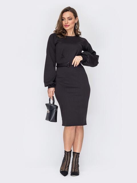 Черное платье-миди из трикотажа в полоску 53135, фото 1