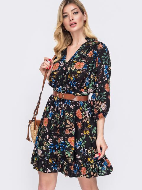Чёрное платье на пуговицах в цветочный принт 48044, фото 1