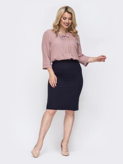 Костюм большого размера из пудровой блузки и юбки 49873, фото 1