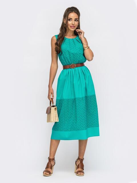 Бирюзовое платье из прошвы с вырезом на спинке 53990, фото 1