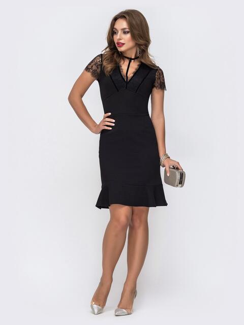Чёрное платье с фатиновыми вставками на кокетке и рукавах 43052, фото 1