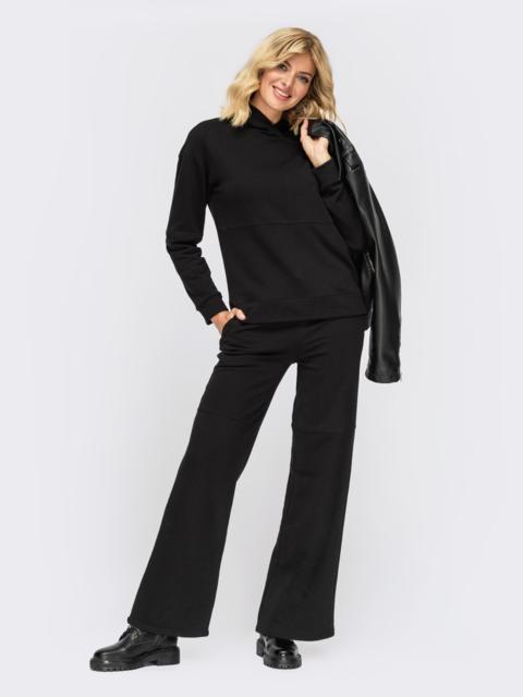 Спортивный костюм с худи и брюками черный 55100, фото 1