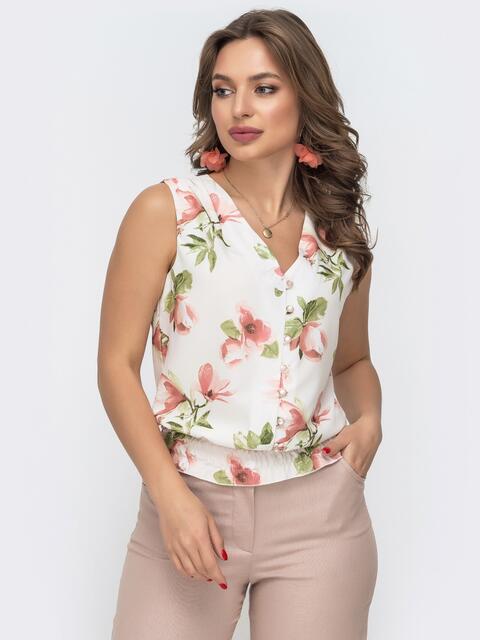 Белая блузка с принтом и вафельной оборкой по низу 46891, фото 1