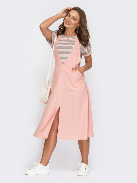 Костюм с футболкой в полоску и сарафаном розового цвета 53989, фото 1
