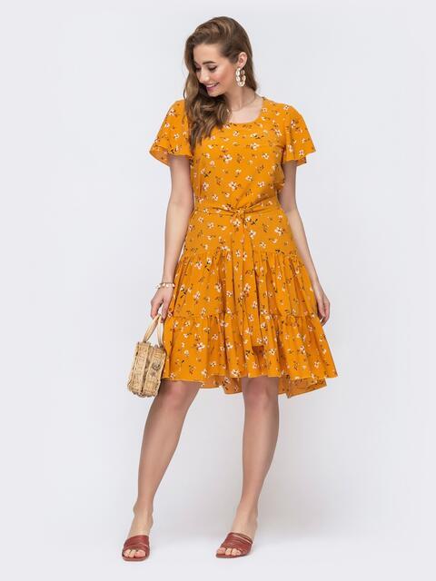 Оранжевое платье с цветочным принтом и воланом по низу 48206, фото 1