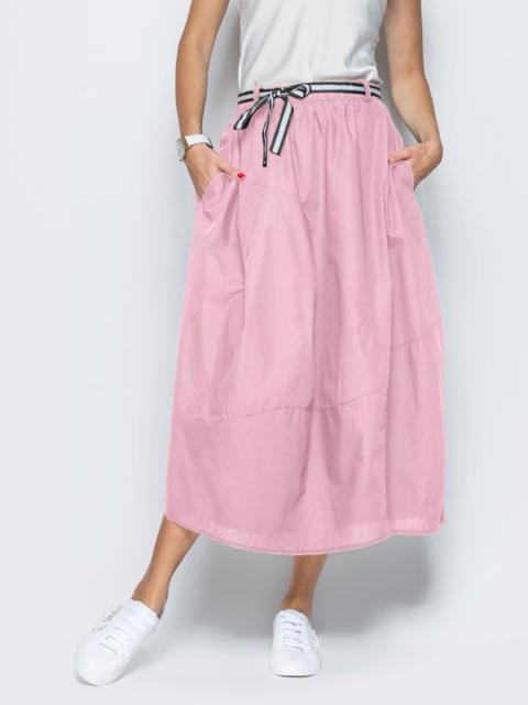 Льняная юбка розового цвета с карманами 39380, фото 1