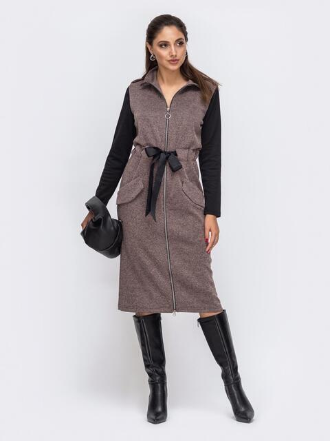 Приталенное платье из трикотажа с контрастными рукавами пудровое 51659, фото 1