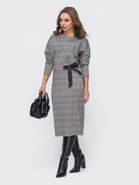 """Приталенное платье в клетку с рукавом """"летучая мышь"""" серое 51661, фото 1"""