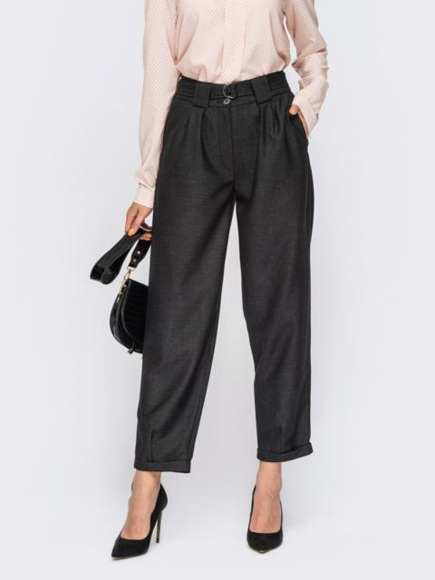 Укороченные брюки графитового цвета с защипами на талии 54668, фото 1