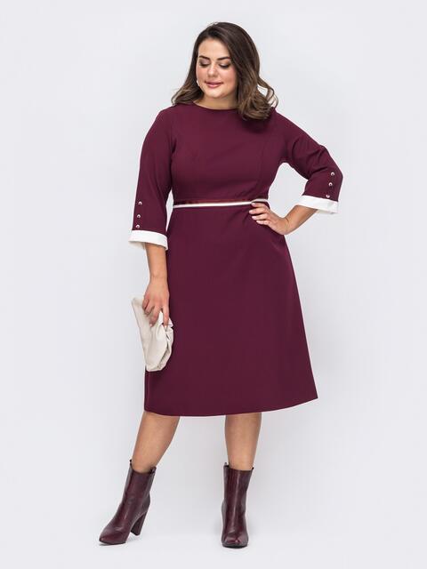 Бордовое платье батал с расклешенной юбкой 51508, фото 1
