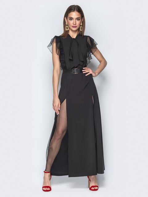 """Чёрное платье с воротником аскот с рукавом """"крылышко"""" 21730, фото 1"""