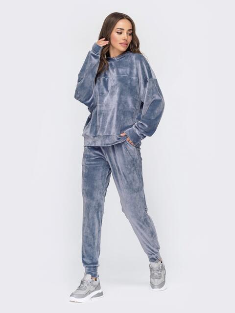 Велюровый костюм голубого цвета из худи и брюк 53506, фото 1
