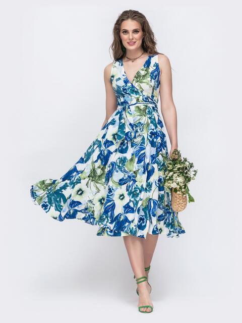 Длинное платье на запах с цветочным принтом голубое 48247, фото 1