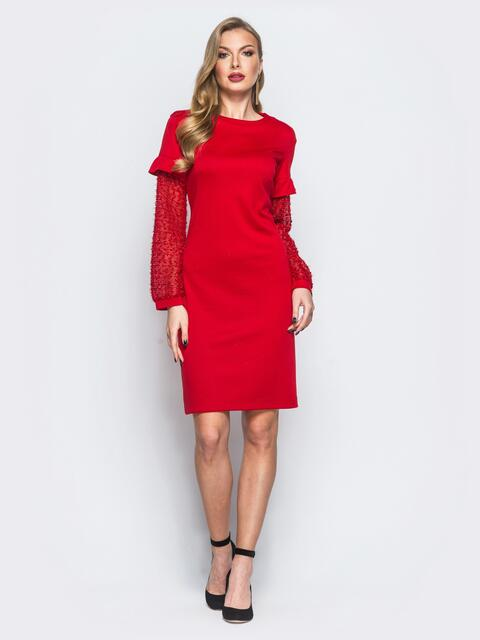 """Платье красного цвета с """"травкой"""" на рукавах 17963, фото 1"""