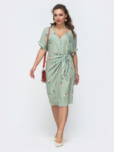 Зеленое платье прямого кроя с принтом 46875, фото 1
