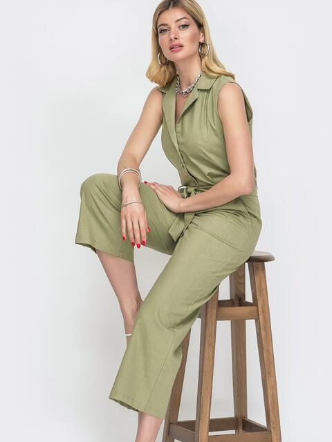 Зеленый комбинезон с лацканами и укороченными брюками 48457, фото 1
