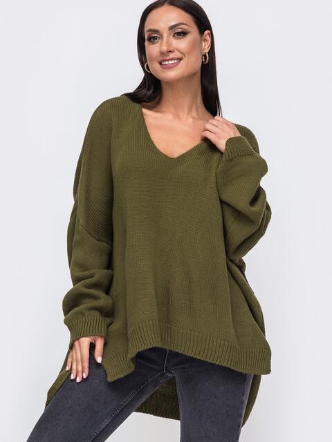 Oversize свитер большого размера с V-образным вырезом хаки 54286, фото 1
