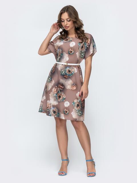 Расклешенное платье с цветочным принтом бежевое 46933, фото 1